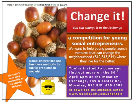 Flyer for competition for young social entrepreneurs