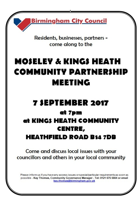 Moseley and Kings Heath Partnership poster